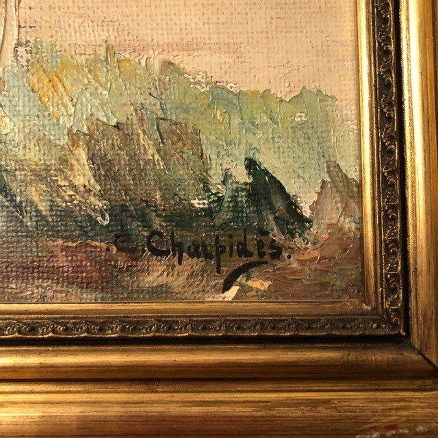 Peinture «Riviera Française» de  Charpides XXe-photo-2
