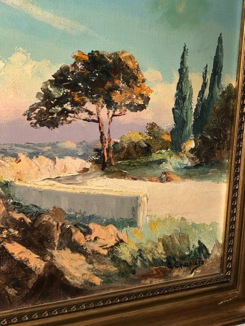 Peinture «Riviera Française» de  Charpides XXe-photo-3