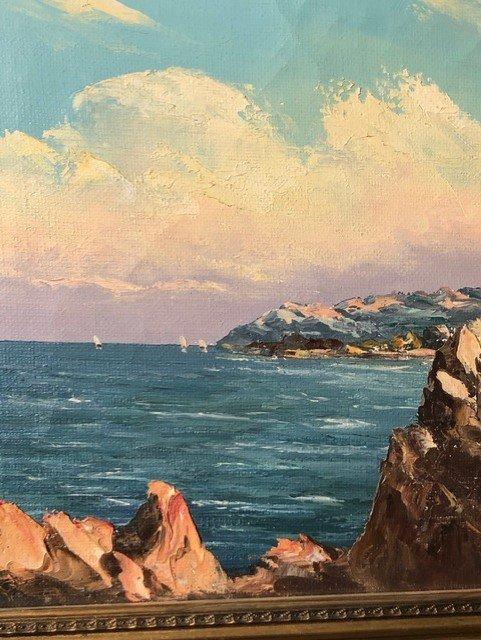 Peinture «Riviera Française» de  Charpides XXe-photo-4