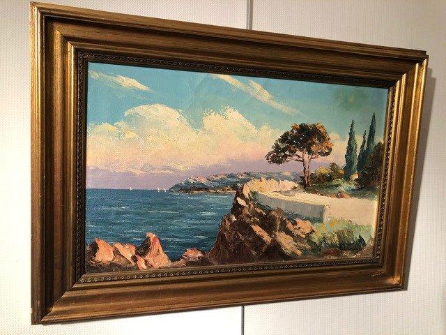 Peinture «Riviera Française» de  Charpides XXe