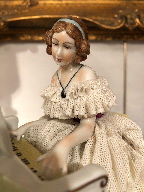 Porcelaine «La Pianiste» Unterweissbach XIXe-photo-2