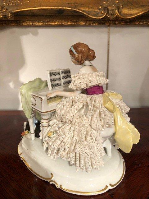 Porcelaine «La Pianiste» Unterweissbach XIXe-photo-3