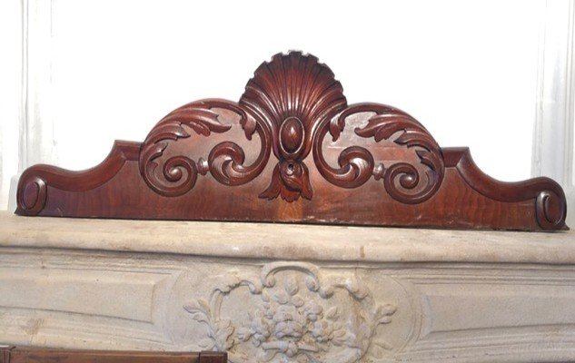 19th Century Mahogany Pediment Woodwork Element