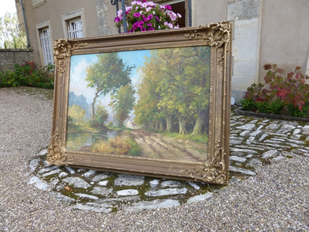 "Oil On Canvas ""bucolic Landscape"", Signed"