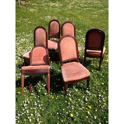 Set Of 6 Dining Chairs - Solid Mahogany Cuba 1925