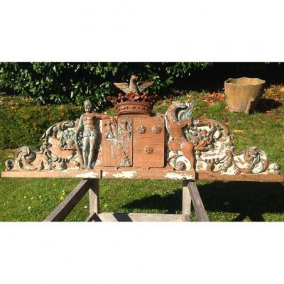 Décoration Sculpture Boiserie Armoiries d'Arenberg XIXe