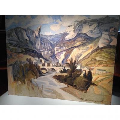 Peinture acrylique «Vignes en Aveyron» François Ehrhart