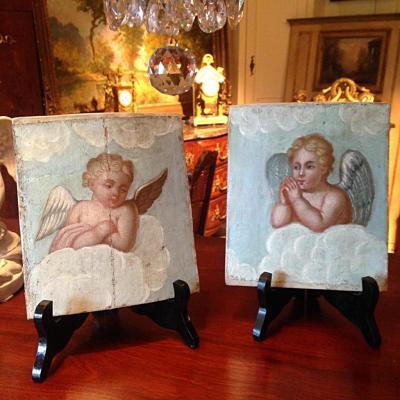 Putti paire de petites peintures fin XVIIIe – début XIX