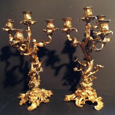 Paire candélabres cheminée bronze style Louis XV ép. NapIII