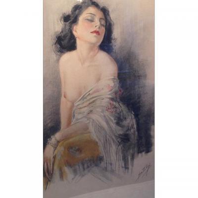 Eau forte Jeune Femme dénudée par Yves Diey,  XXe