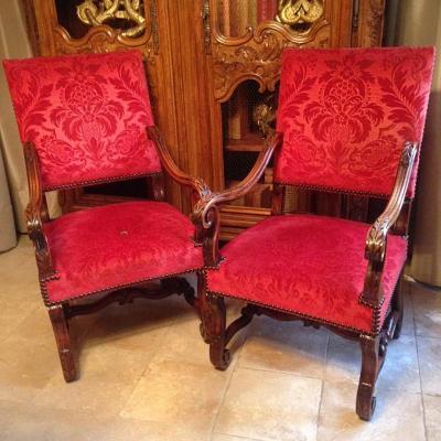 Paire de fauteuils style Louis XIII en noyer XIXe