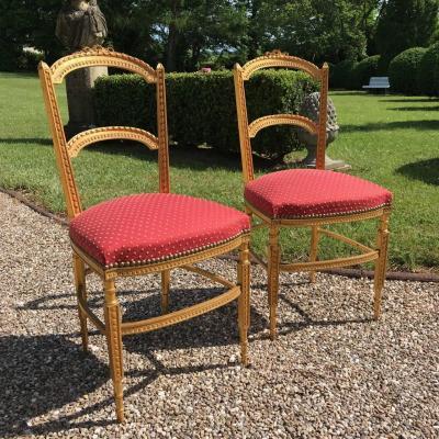 Paire de chaises Napoléon III bois doré, style Louis XVI