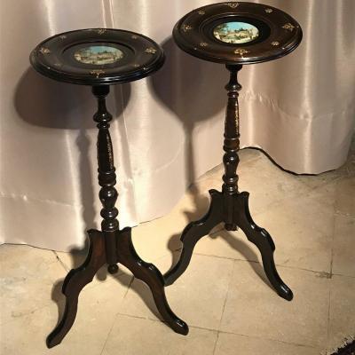 Paire de sellettes consoles bois noirci Napoléon III