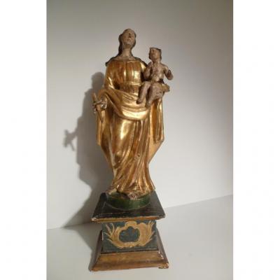 Vierge à l'Enfant Bois Doré XVIIIe