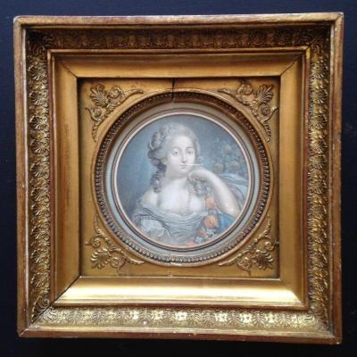 Portrait Of Young Woman Gilt Wood Empire Frame