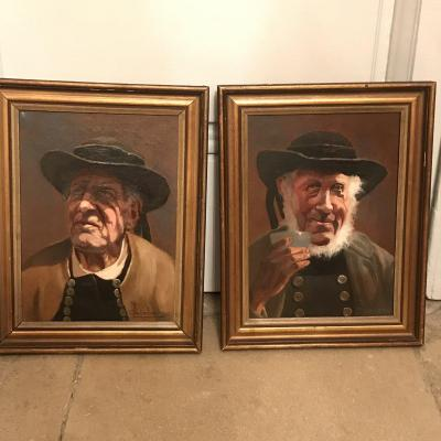 Pair of portraits Les Bons Vieux Oil on canvas signed Period 1900 Very good condition Total height with frame: 40 cm Width: 32 cm Price: 550 €