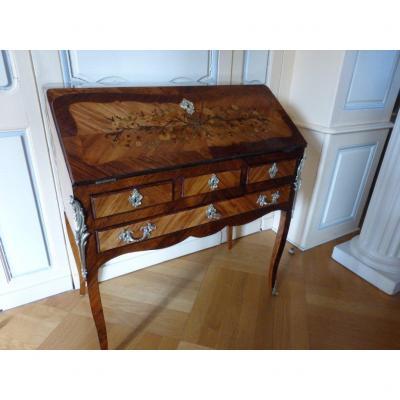 Louis XV Marquetry Secretary Slope Desk