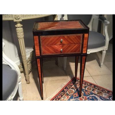 Chevet table chiffonnière Louis XVI marqueterie XVIIIe