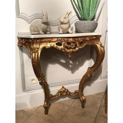 Louis XV Style Giltwood Console, Late 19th Century