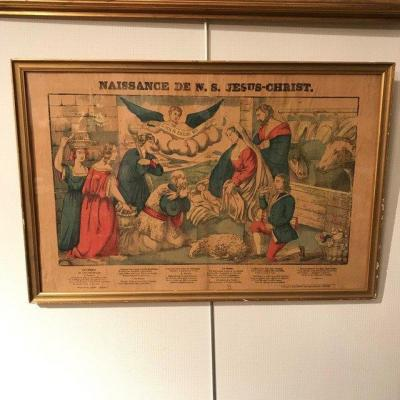 "Engraving Imaging Epinal ""birth Of Christ"" By Pellerin 19th"