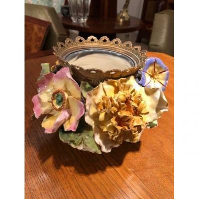 Vase cache pot barbotine XIXe