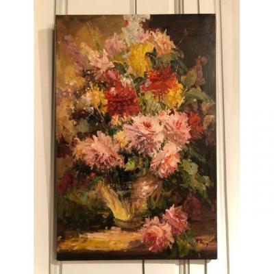 Huile sur toile Bouquet de fleurs Mikaël Harry XXe