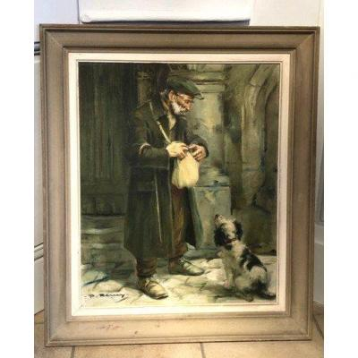 "Oil On Canvas ""the Old Man And His Dog"" By Paul Rémy Twentieth"