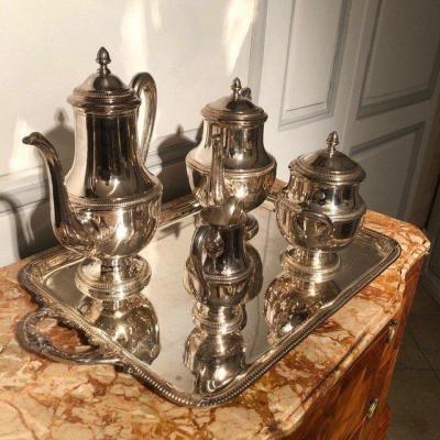 Service à thé style Empire métal argenté XXe