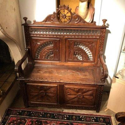 Carved Oak Chest Bench Late 19th Century