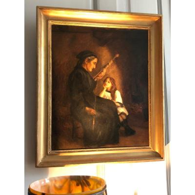Huile sur toile «La fileuse» de Grezels XIXe