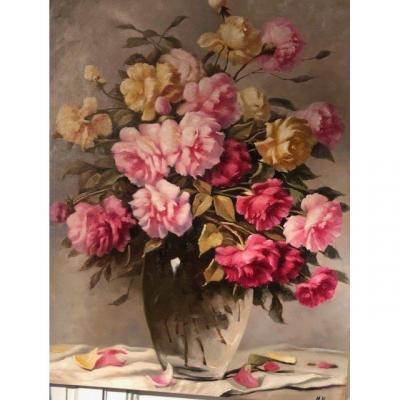 Huile sur toile Bouquet de fleurs, grande peinture de Mickael Harry XXe