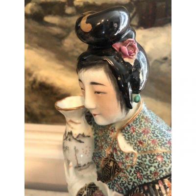 Chinoise au vase Porcelaine XIXe