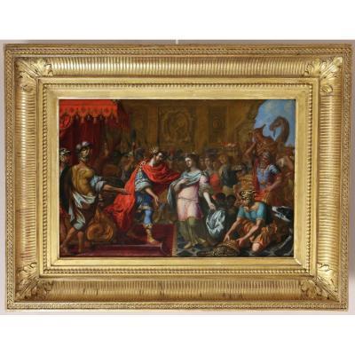 Ecole Italienne Du Nord Vers 1650-le Roi Salomon Reçoit La Reine De Saba.
