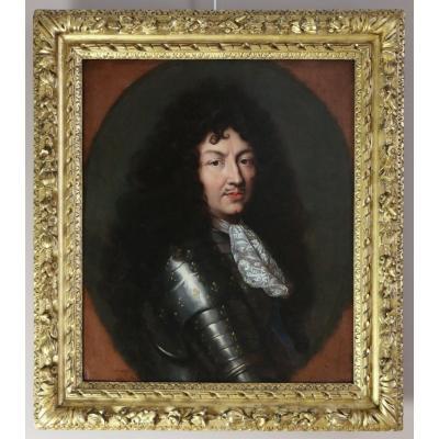 Portrait de Louis XIV en armure vers 1670, attribué à Claude lefebvre (1632-1675)