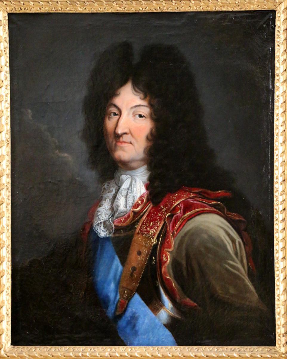 Atelier De Hyacinthe Rigaud 1659-1743.  Portrait De Louis XIV En Cuirasse Et Habit De Velours