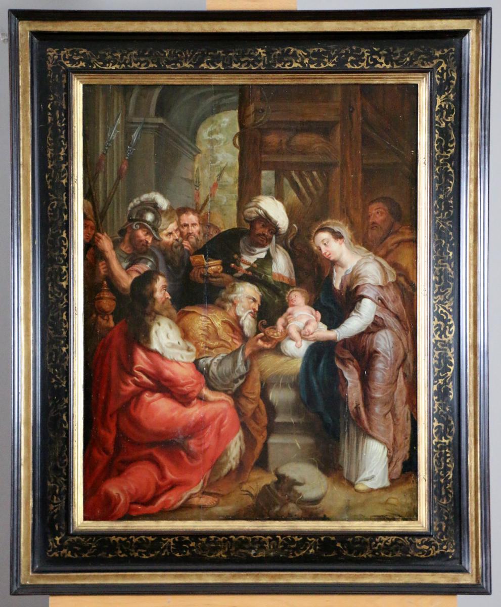 École Flamande Du XVIIe Siècle, Attribuée à Frans Francken III Adoration Des Rois Mages