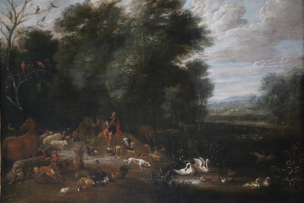 Lambert De Hondt L'ancien (1620-1665), Orphé Charmant Les Animaux.