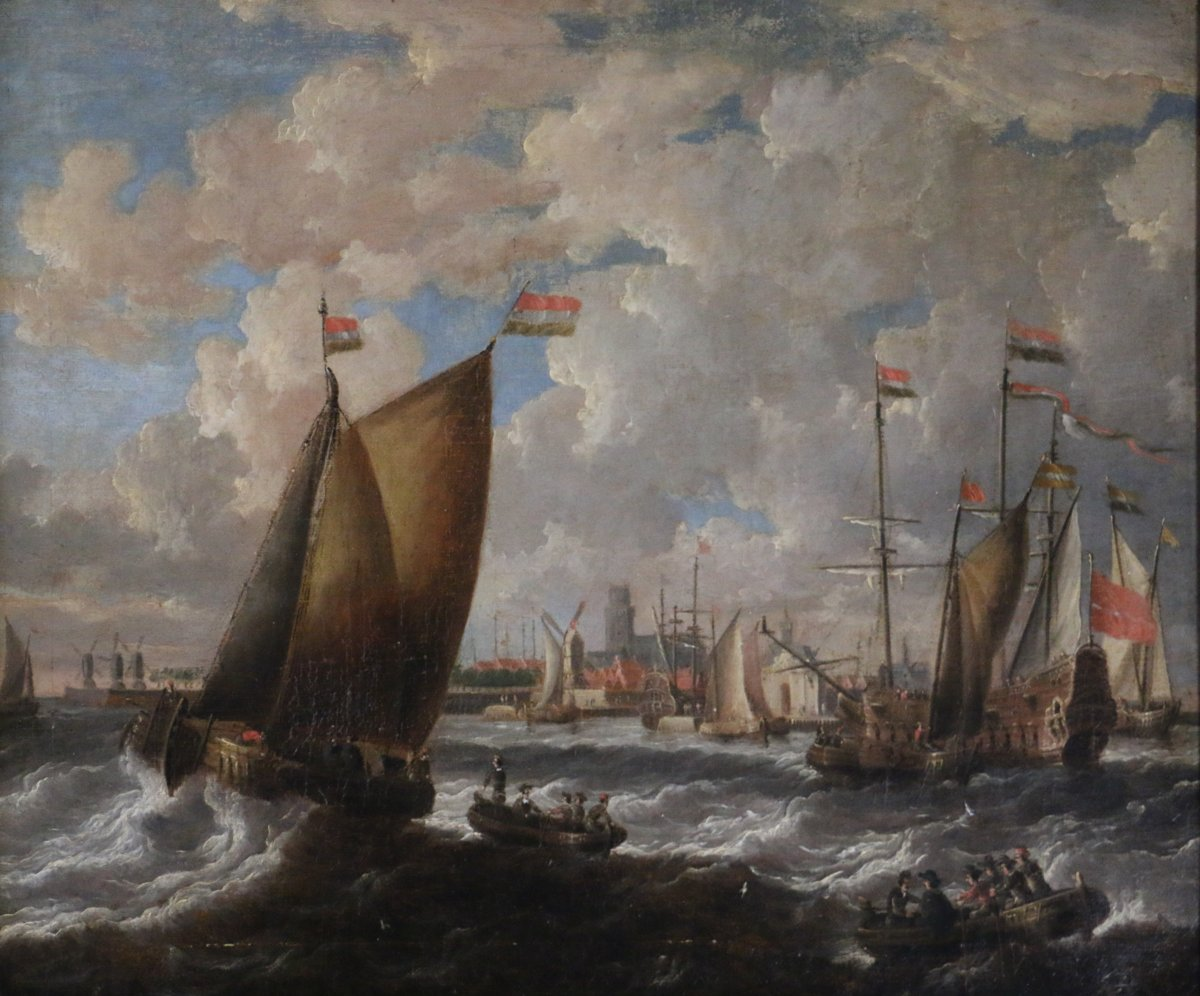 Peter Van Den Velde - (1634-1687) -marine-port City Of Holland