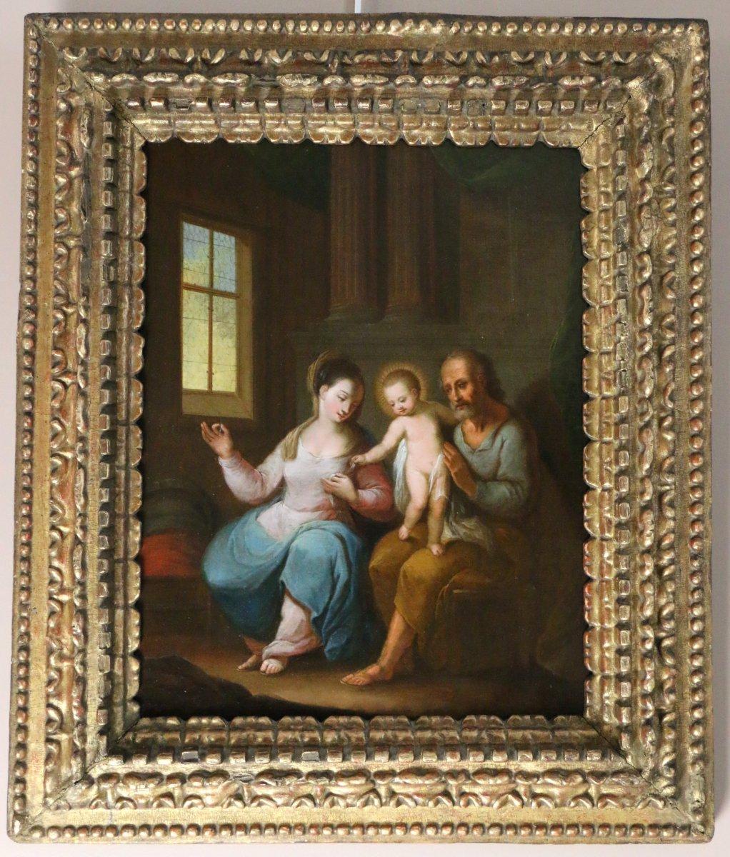 Ecole Flamande Du 17e Siècle Monogrammée - La Sainte Famille Dans Un Intérieur