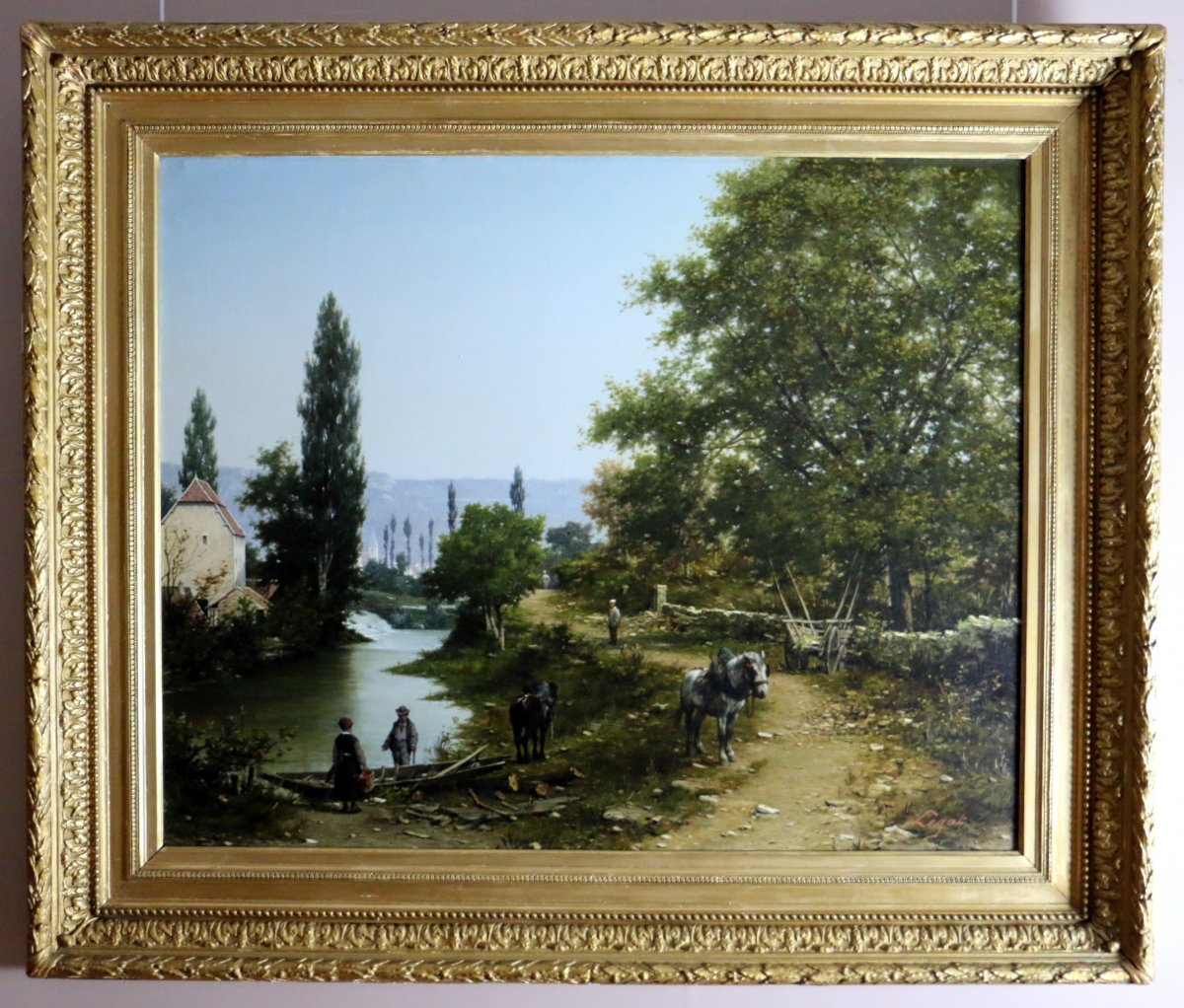 Léon Legat (born In 1829-paris) -signed. Animated Path By A River