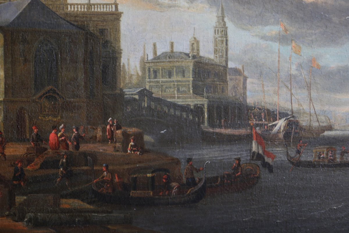 Jacobus Storck (amsterdam,1641-1687) Signé-marine Et Capriccio Vénitien.