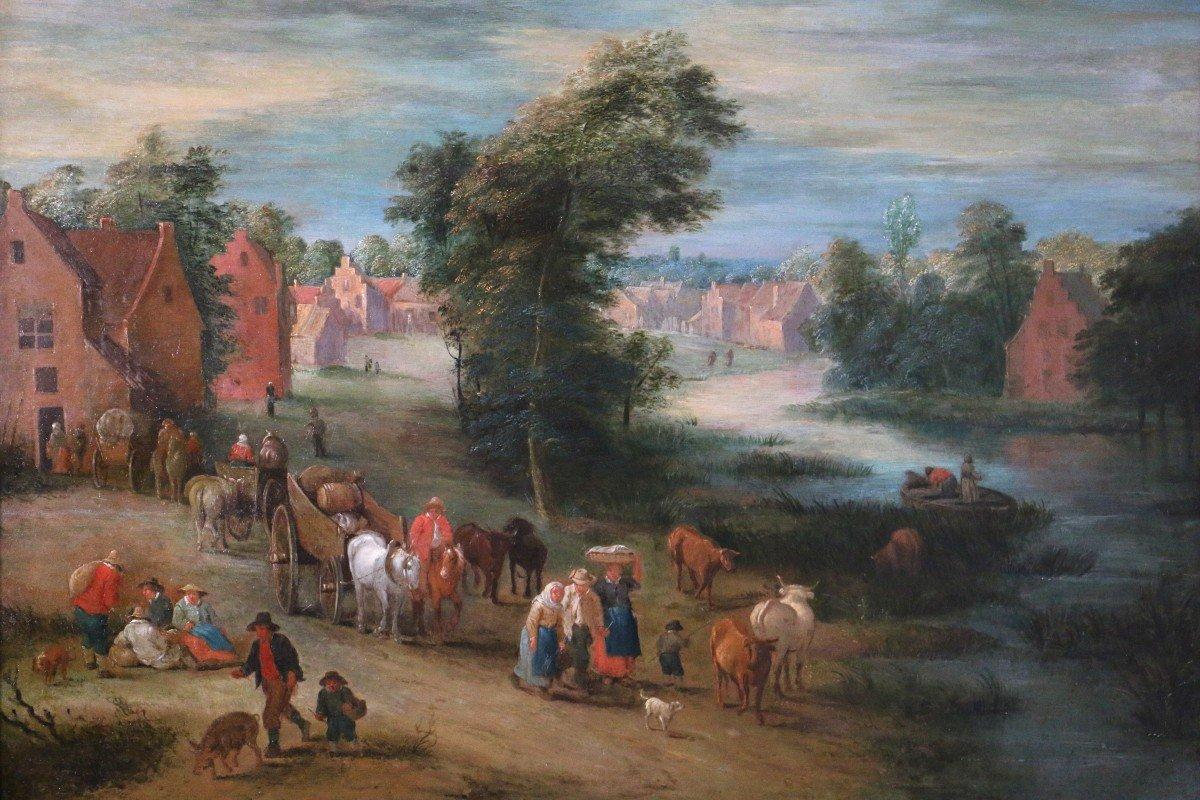 Theobald Michau (Tournai 1676;  Anvers 1765) Scène Villageoise Et Fluviale