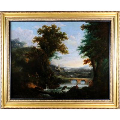 George Smith Of Chichester (1714-1776) Grand Paysage Animé
