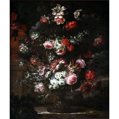 Peter Casteels I Said The Ancient 17th Century-garland Of Flowers Around A Medicis Vase