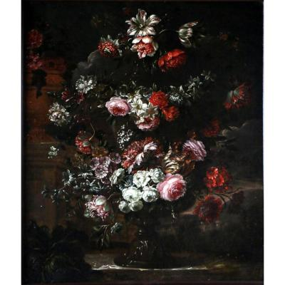 Garland Of Flowers Around A Medici Vase - Attributable To Peter Casteels I Said The Old