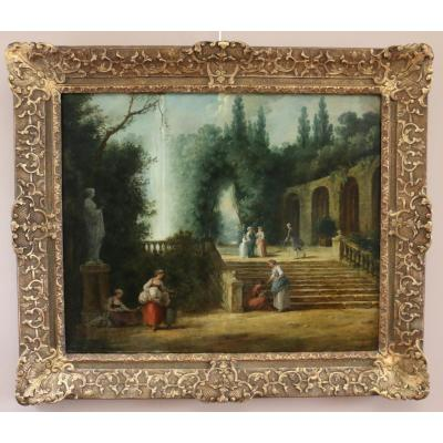 Atelier Hubert Robert (1733-1808) -scene In The Gardens Of Palazzo Corsini In Rome
