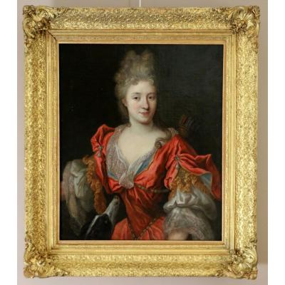 François De Troy (1645-1730) Atelier-dame Of Quality In Diane Chasseresse Around 1700