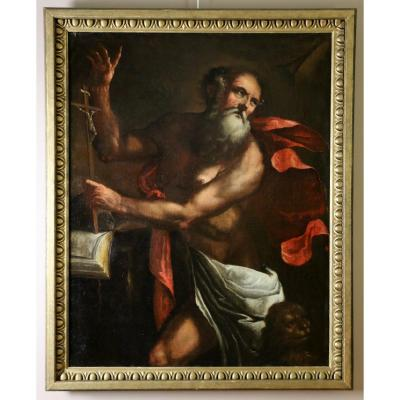 Neapolitan School From The 17th Century. Saint Jerome Under The Trumpets Of The Last Judgment
