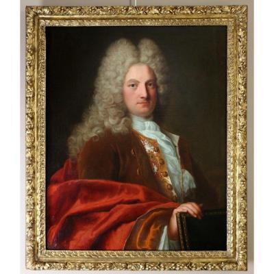 Robert Levrac De Tournières (1667; 1752) , attribué: Portrait d'Un Gentilhomme Vers 1720