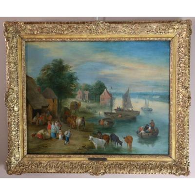 Theobald Michau (Tournai 1676; Anvers 1765) Scène Villageoise Sur Les Rives d'Un Fleuve